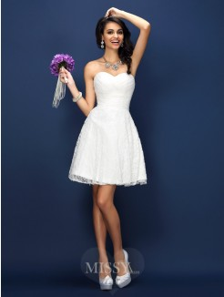 A-Line/Princess Sleeveless Sweetheart Pleats Lace Short/Mini Satin Bridesmaid Dresses