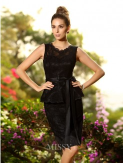 Sheath/Column Sleeveless Satin Scoop Lace Knee-Length Bridesmaid Dresses