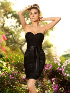 Sheath/Column Chiffon Sleeveless Sweetheart Beading Short/Mini Bridesmaid Dresses