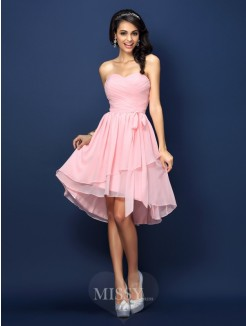 A-Line/Princess Sleeveless Sweetheart Pleats Bowknot Short/Mini Chiffon Bridesmaid Dresses