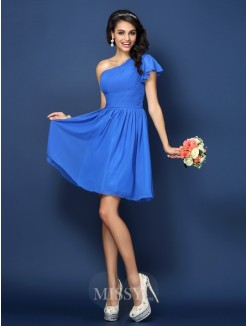 A-Line/Princess Sleeveless One-Shoulder Pleats Short/Mini Chiffon Bridesmaid Dresses
