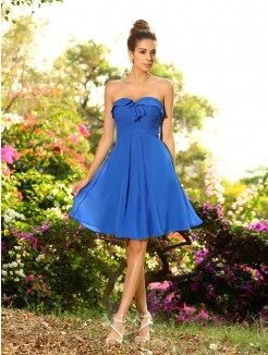 A-Line/Princess Sweetheart Chiffon Sleeveless Knee-Length Pleats Bridesmaid Dresses