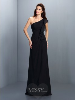 Sheath/Column Sleeveless One-Shoulder Pleats Floor-Length Chiffon Dress