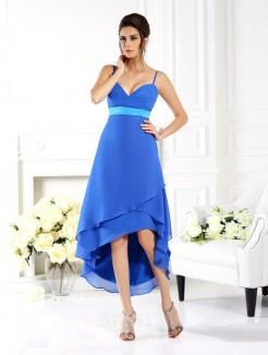 A-Line/Princess Spaghetti Straps Sleeveless Ruffles Asymmetrical Chiffon Dress