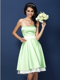 A-Line/Princess Strapless Sleeveless Knee-Length Elastic Woven Satin Bridesmaid Dresses