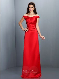 Sheath/Column Sleeveless Off-the-Shoulder Floor-Length Chiffon Dress