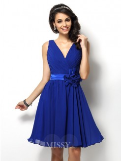 A-Line/Princess Sleeveless V-neck Pleats Short/Mini Chiffon Bridesmaid Dresses