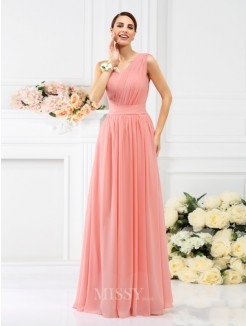 aff75c7266 A-Line Princess Sleeveless One-Shoulder Pleats Floor-Length Chiffon  Bridesmaid Dresses