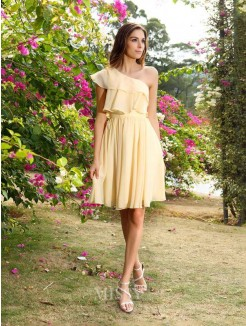 A-Line/Princess Chiffon Sleeveless One-Shoulder Short/Mini Bridesmaid Dresses