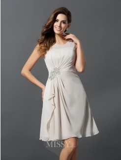 A-Line/Princess Sleeveless Scoop Beading Chiffon Short/Mini Bridesmaid Dresses
