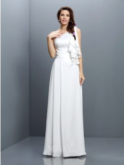 A-Line/Princess Sleeveless One-Shoulder Ruffles Floor-Length Chiffon Bridesmaid Dresses