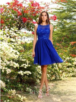 A-Line/Princess Bateau Sleeveless Knee-Length Applique Chiffon Bridesmaid Dresses