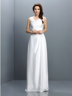 Sheath/Column Sleeveless V-neck Floor-Length Chiffon Bridesmaid Dresses
