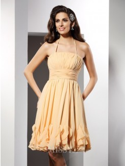 A-Line/Princess Halter Sleeveless Ruffles Knee-Length Chiffon Dress