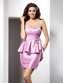 Sheath/Column Sleeveless Sweetheart Bowknot Short/Mini Taffeta Dresses