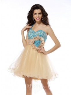 A-Line/Princess Sleeveless One-Shoulder Applique Short/Mini Net Dresses