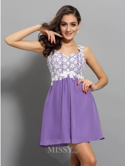 A-Line/Princess Applique Straps Sleeveless Chiffon Short/Mini Dress