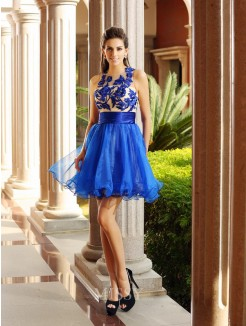 A-Line/Princess Sleeveless Bateau Net Short/Mini Beading Dresses