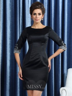 Sheath/Column Square 1/2 Sleeves Satin Short/Mini Beading Mother of the Bride Dress