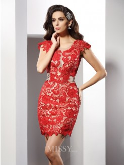 Sheath/Column Sleeveless Scoop Short/Mini Lace Elastic Woven Satin Dresses