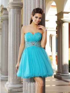 A-Line/Princess Satin Sleeveless Sweetheart Short/Mini Ruffles Dresses