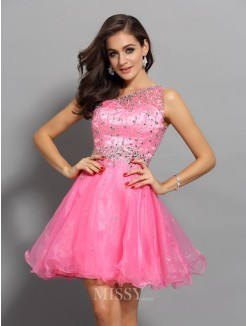 A-Line/Princess One-Shoulder Organza Sleeveless Ruffles Short/Mini Dress