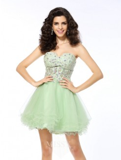 Sweetheart A-Line/Princess Sleeveless Short/Mini Ruffles Satin Dresses