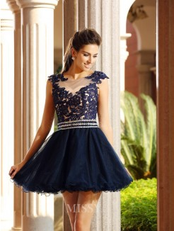 A-Line/Princess Sleeveless Scoop Short/Mini Tulle Applique Dresses