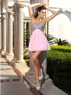 A-Line/Princess Sleeveless Chiffon Short/Mini Sweetheart Sequin Dresses