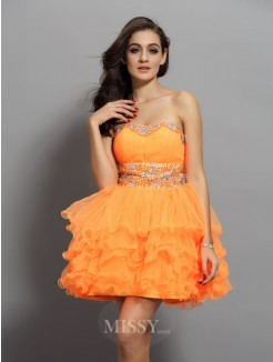 A-Line/Princess Satin Sleeveless Sweetheart Ruffles Short/Mini Dress