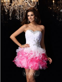 A-Line/Princess Sweetheart Organza Sleeveless Ruffles Short/Mini Dress