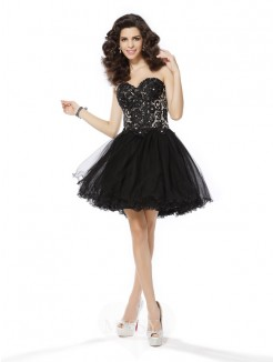 A-Line/Princess Net Sleeveless Sweetheart Short/Mini Ruffles Dresses