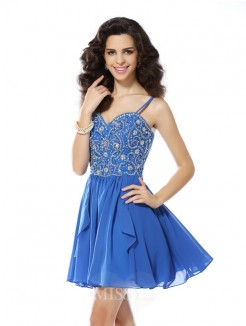 A-Line/Princess Spaghetti Straps Beading Sleeveless Short/Mini Chiffon Dress