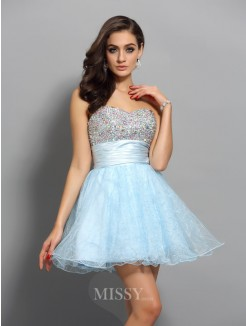 A-Line/Princess Beading Sleeveless Chiffon Sweetheart Short/Mini Dress