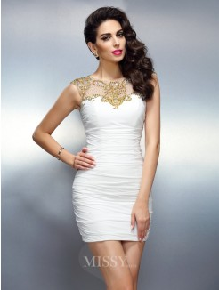 Sheath/Column Bateau Beading Sleeveless Short/Mini Chiffon Dress