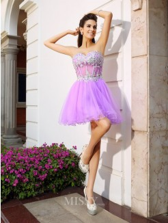 A-Line/Princess Organza Sleeveless Sweetheart Short/Mini Applique Beading Dresses