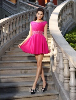 A-Line/Princess Scoop Chiffon Sleeveless Beading Short/Mini Dress