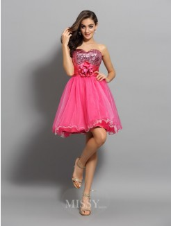 A-Line/Princess Net Sleeveless Sweetheart Ruffles Short/Mini Dress
