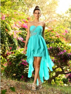 A-Line/Princess Sleeveless Sweetheart Chiffon Asymmetrical Beading Dresses