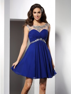 A-Line/Princess Sleeveless Scoop Beading Short/Mini Chiffon Dress