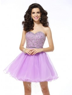 A-Line/Princess Sleeveless Sweetheart Organza Short/Mini Ruffles Dresses