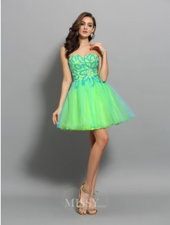 A-Line/Princess Sleeveless Net Sweetheart Beading Short/Mini Dress