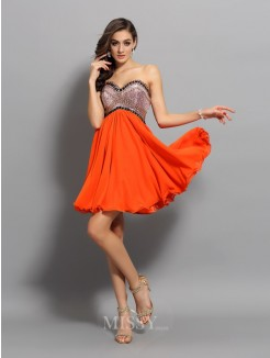 A-Line/Princess Sweetheart Chiffon Ruffles Sleeveless Short/Mini Dress