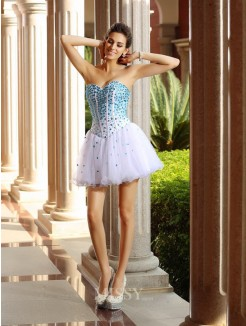 A-Line/Princess Sleeveless Sweetheart Tulle Short/Mini Ruffles Dresses