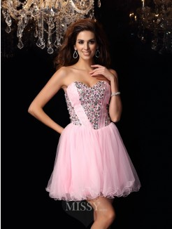A-Line/Princess Sweetheart Elastic Woven Satin Sleeveless Ruffles Short/Mini Dress