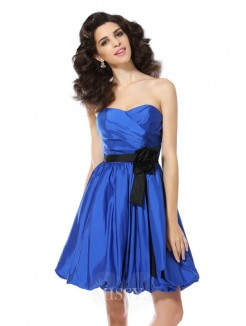 A-Line/Princess Sleeveless Sweetheart Hand-Made Flower Short/Mini Taffeta Dresses