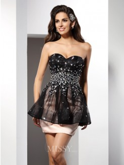 Sheath/Column Sleeveless Sweetheart Short/Mini Satin Dresses
