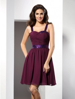 A-Line/Princess Straps Sleeveless Ruched Short/Mini Chiffon Dress