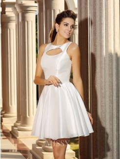 A-Line/Princess Sleeveless High Neck Short/Mini Satin Dresses