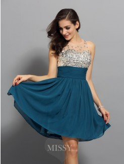A-Line/Princess Bateau Chiffon Sleeveless Rhinestone Short/Mini Dress